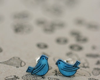Blue Birds - Earring Studs
