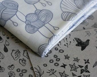 Weather Pattern Fabric - Grey on White - Half Yard