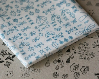 Bugs Fabric - Teal and White - Half Yard