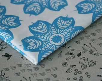 Blue Tree Star Fabric - Blue and White - Small Piece