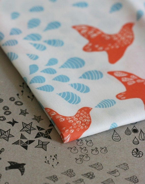 Folk Birds Fabric - Orange and Blue - Half Yard