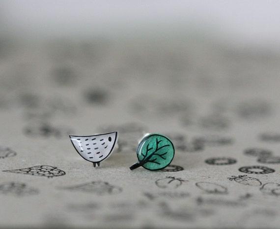 Little Bird Little Tree - Earring Studs - White