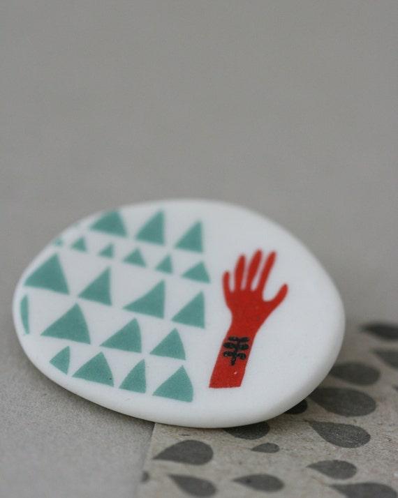 Red Hand -  Porcelain Brooch