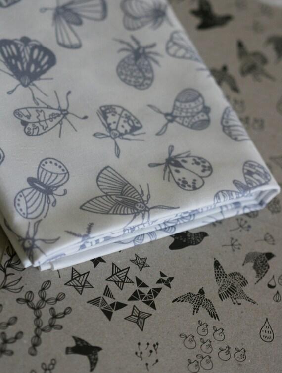 Moth Fabric - Grey - Half Yard