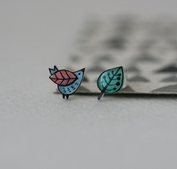 Sweet Wren  - Earring Studs - Blue and Pink