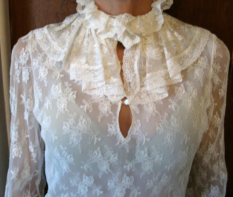 Vintage Lace Blouse Victorian Style Creme Colored Lace Top