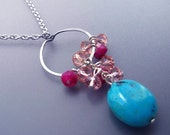 Turquoise and Pink Necklace - silver circle, cluster pink crystal, hot pink fuchsia moonstones, blue turquoise drop - Cosmopolitan