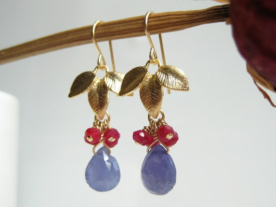 Gold Leaf Earrings - December birthstone, purple blue drop tanzanite and cluster of red gemstones with charm - Bamboo Leaf (Blue Tanzanite)