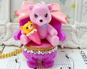 SALE Bear in Her Chair Necklace