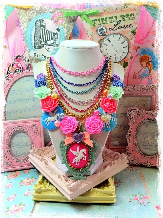 Reserved- Unicorn and Fowers Layered Charm Necklace.