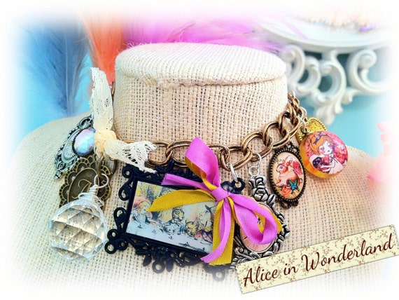 Alice in Wonderland Charm Necklace- Reserved.