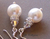 Bridal Earrings - Sterling Silver and Swarovski Crystal, Pearl Earrings, Bridesmaids Gift - Bridal Party Jewelry- 9635