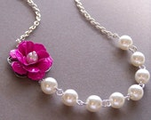 Bridesmaids GIFT, Necklace and Earrings Set, Customizable Flower Jewelry, Pearl Necklace, Wedding jewelry, Flower Jewelry  - 9841