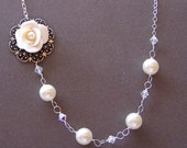 Bride Bridesmaid Sterling Silver,Swarvoski Crystal,Cream Pearl and Hand Sculpted Flower Asymmetrical Necklace - 9870
