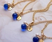 Brides Bridesmaids Gifts - Seven  7  Personalized Bracelets, 14k Gold Filled and Stone of You Choosing  - 1078