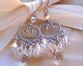 Bridal Chandelier Earrings, Swarovski Crystal and Antiqued Silver, Wedding Jewelry, Special Ocassion Jewelry -1089