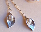 Calla Lily Lariat Necklace  - Sterling Silver AND Swarovski Pearl- Bridesmaids Gift - 2091
