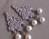 Brides Bridesmaids Silver Filigree Chandelier Earrings, Customizable Swarovski pearl, Wedding Favors, Wedding Jewelry - 3027