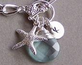 Custom Monogrammed Bracelet -  Ocean Themed Bracelet, Starfish Charm, Aquamarine Stone, Stamped Discs and a Pearl  - 3033