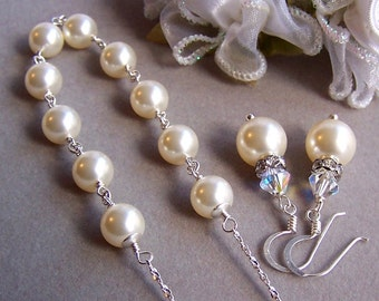 Bridal Necklace and Earring Set, Custom Pearl Jewelry, Choose Your Pearl Color, Wedding Jewelry, Pearl Necklace, Pearl Dangle Earrings