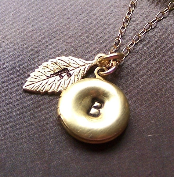 Custom Monogram Necklace - 14k Gold Filled, Brass Locket and Leaf  Initial Stamped Charm - 1031