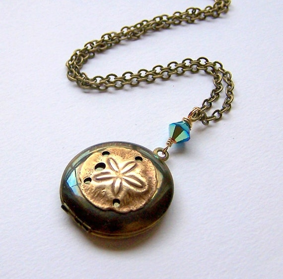 Vintage Sand Dollar Locket and Swarovski Crystal Necklace-1051