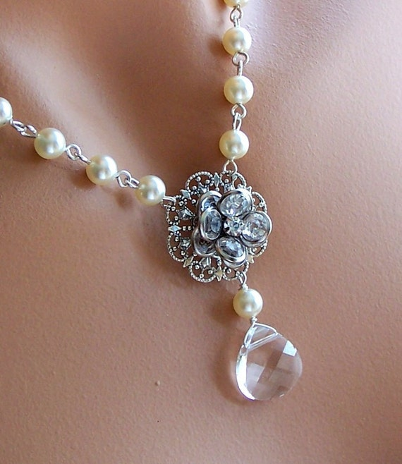 Brides Bridesmais Necklace -  Customizable Swarovski Pearl and Crystal - Sterling Silver Y Necklace - Flower Jewelry -  3043