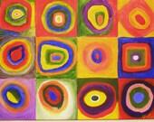 Large Color of Squares ORIGINAL 48X36