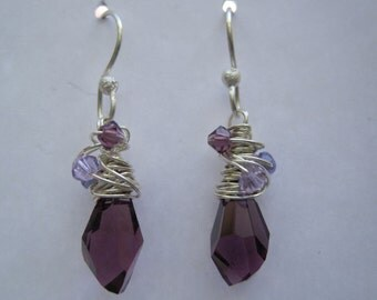 Amethyst  Crystal Dangle Earrings
