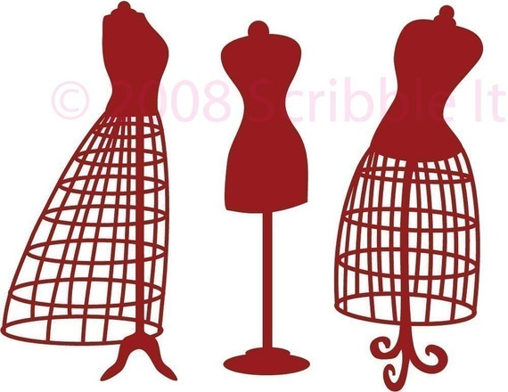 Vintage Dress Form Wall Decals