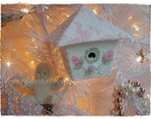 Pink Toile Cottage Cutie Bird House ecs csst CHIC