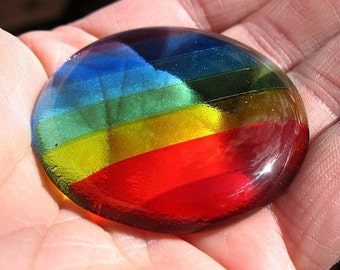 Glass Rainbow Rock Wishing Stone