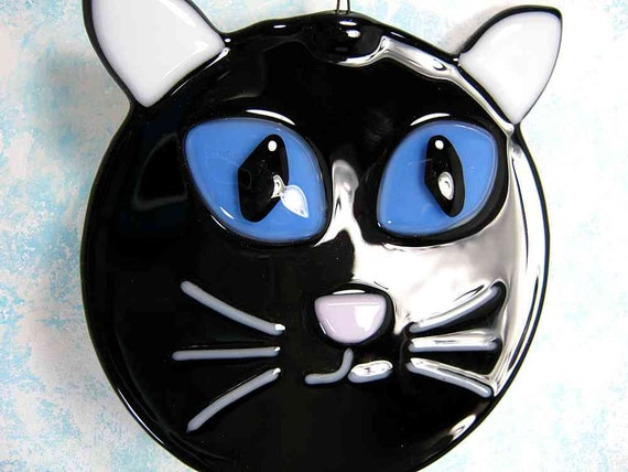 Glass Black Cat with Blue Eyes
