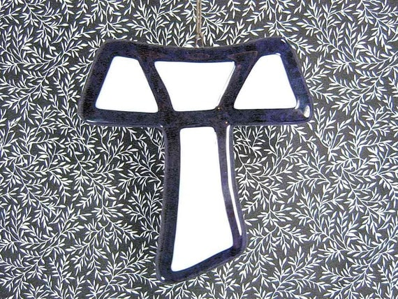 Purple Cross of St Francis or Tau Cross in Fused Glass
