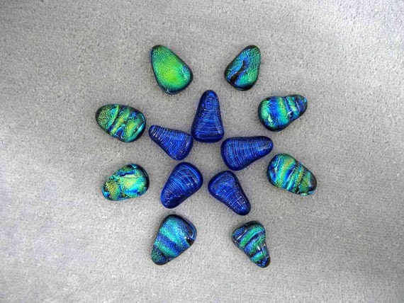 13 Blue and Green Dichroic Cabochons