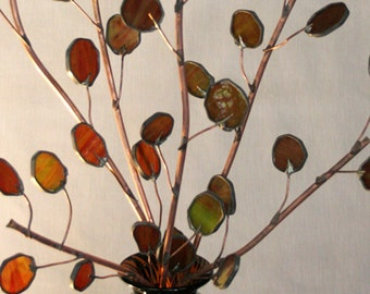Send Peace this year with Copper Olive Branches- Stained Glass 3ft Tall-pair