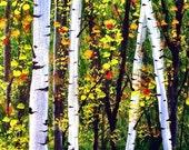 Aspen Birch Fall Autumn Forest Folk Art PRINT by Todd Young Aspen Forest