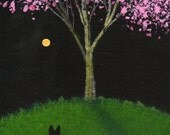 Black German Shepherd Dog APPLE BLOSSOMS art PRINT of Todd Young painting