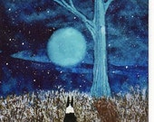 Boston Terrier Dog Folk Art PRINT of Todd Young painting FIRST SNOW