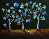 Border Collie Dog AUTUMN NIGHT Limited Edition reproduction Print of Todd Young painting