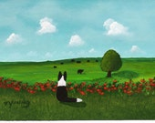 Border Collie Dog LARGE Art PRINT Todd Young painting Angus Cow Grazing Cows