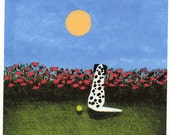 Dalmatian Dog Art PRINT Todd Young painting Red Poppies