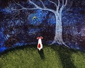 Jack Russell Terrier Dog LARGE Folk Art Print of Todd Young painting Bare Tree