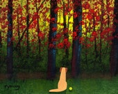 Yellow Lab dog art PRINT of Todd Young painting Autumn Forest Light