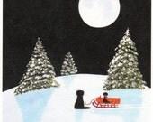 Black Lab Dog SLEDDING reproduction art print by Todd Young
