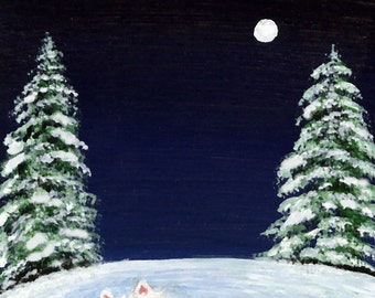 Westie CHRISTMAS MOON Folk art print of Todd Young painting