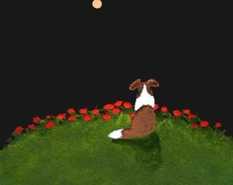 POPPY HILL Sheltie Collie Dog Modern Folk Art print by Todd Young
