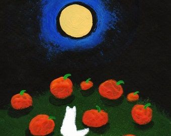 White Persian Cat PUMPKIN PATCH Modern Folk Art PRINT of Todd Young painting