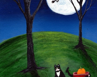 Pumpkin for Kitty Halloween Tuxedo Cat Print by Todd Young