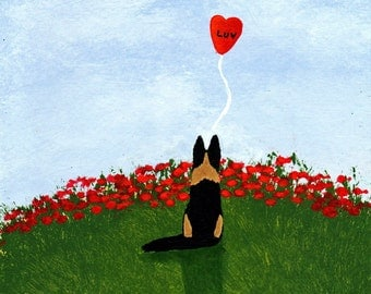German Shepherd Dog LUV Valentine Limited Edition reproduction Print of Todd Young painting